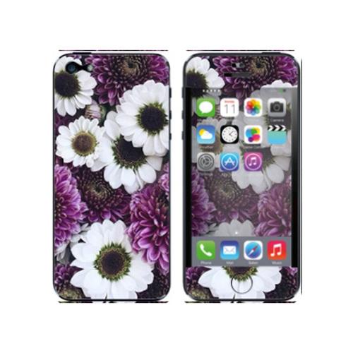 Наклейка силиконовая IceTwice iPhone 5/5S White&Purple flowers №1073