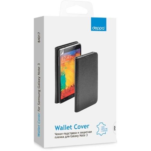 Чехол-книжка для Samsung N9000 Galaxy Note 3 Wallet Cover и защитная пленка, Deppa, белый фото 2