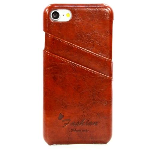 Накладка кожаная Goodcase iPhone 7 Plus с держателем для карт Brown